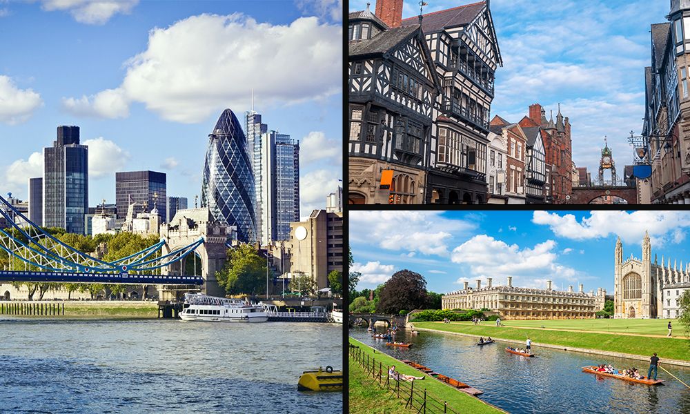 Collage of three city images; London, Chester and Cambridge