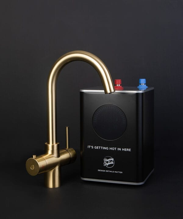 gold monroe hot water tap with boiler unit