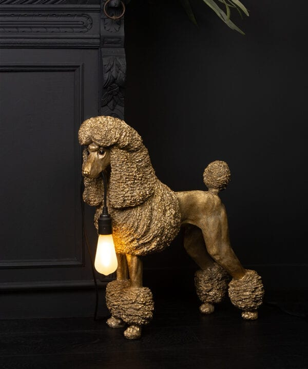 Claude Poodle Table Lamp in gold on black background
