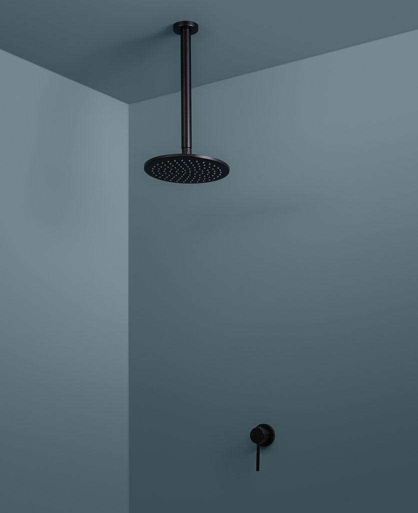 black ceiling shower