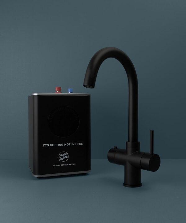 black monroe hot water tap with boiler