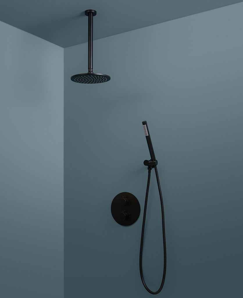 black thermostatic ceiling shower and hand shower