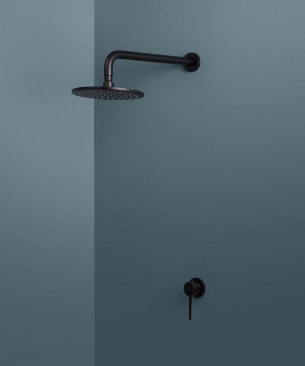 black wall shower