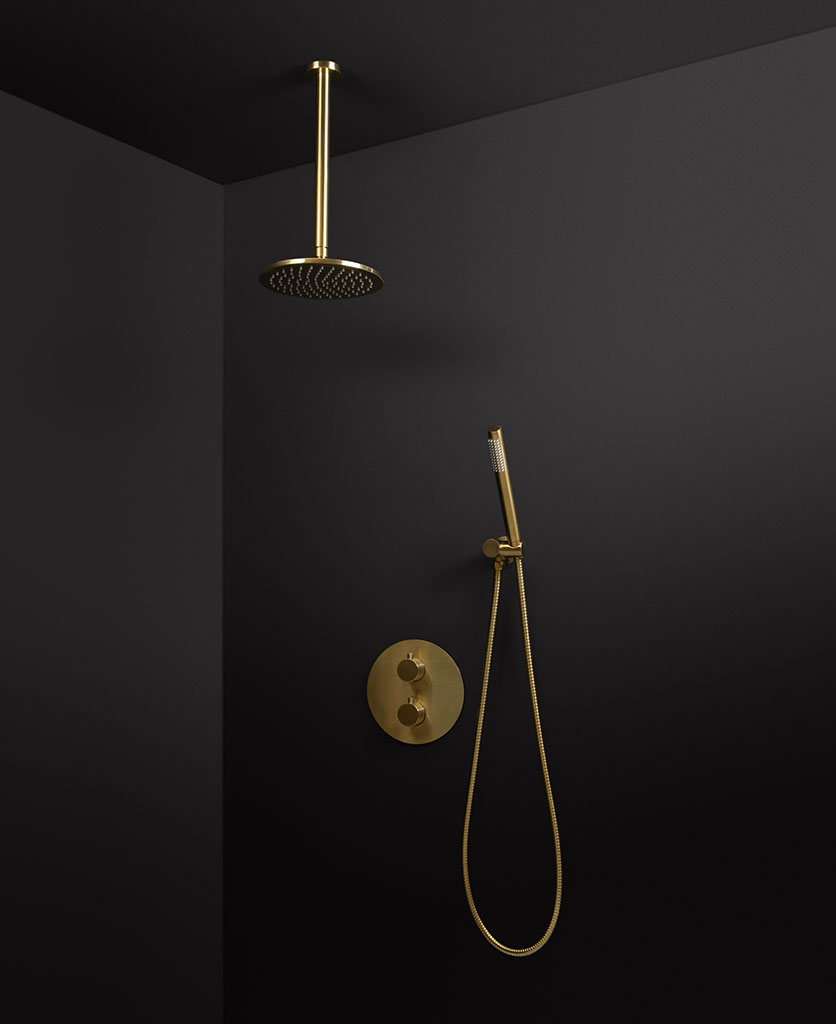 gold thermostatic ceillng shower and hand shower