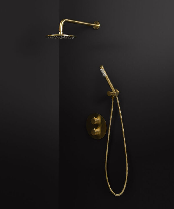 gold thermostatic wall shower and hand shower
