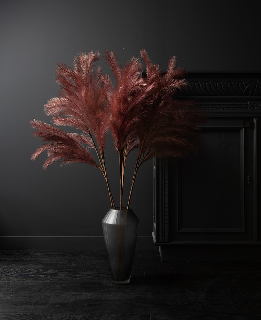 panicle grass in long glass vase on black background