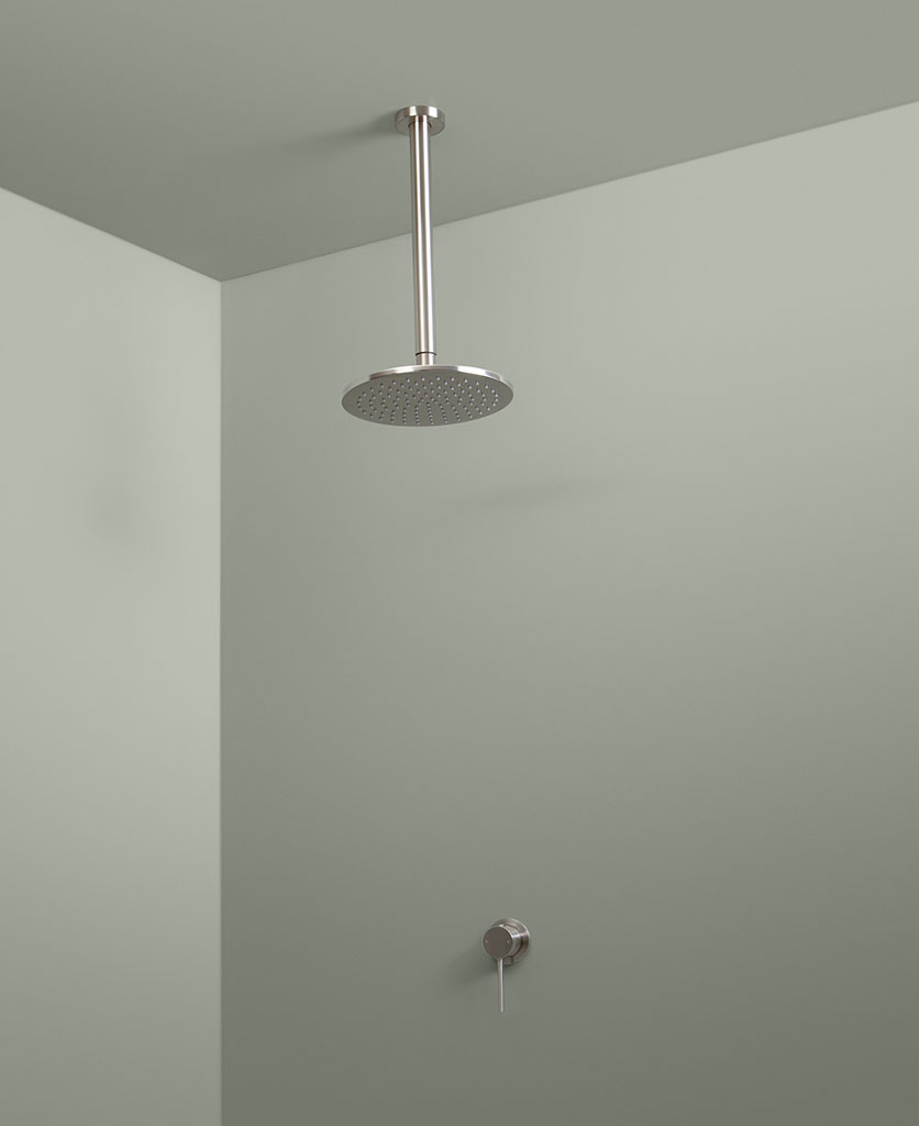 silver ceiling shower