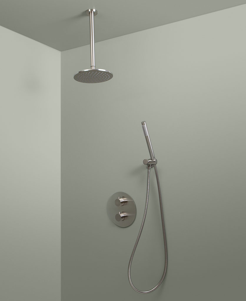 silver thermostatic ceiling shower and hand shower