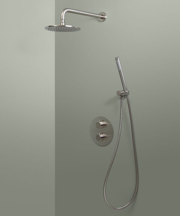 silver thermostatic wall shower and hand shower