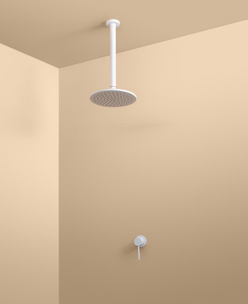 white ceiling shower