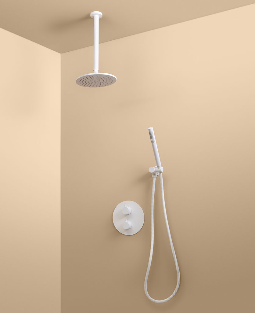 white thermostatic ceiling shower and wall shower