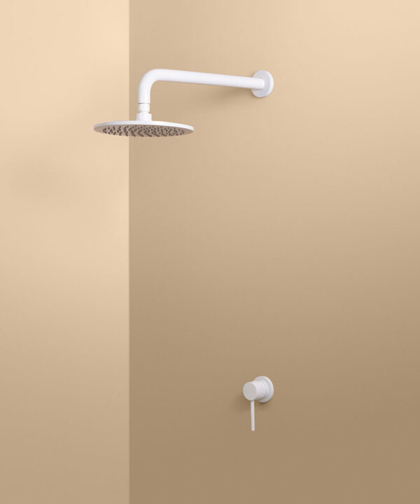 white wall shower