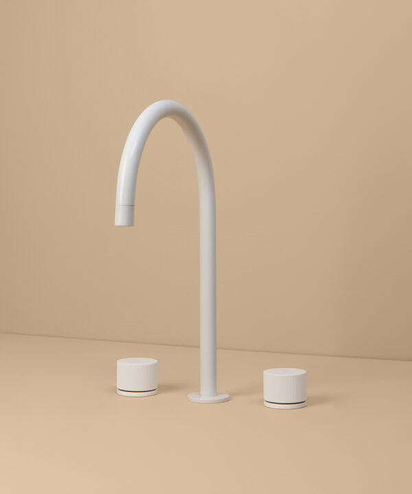 white reeded tap on peach background